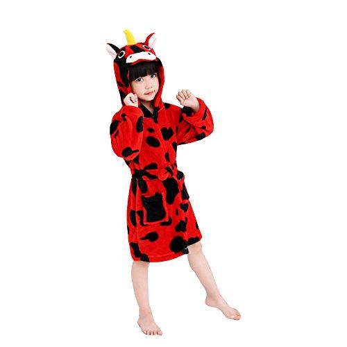 Kailya Kinder Einhorn Bademantel Karikatur Tier mit Kapuze Bademantel Weich Flanell Nachtwäsche Dressing Kleid Niedlich Loungewear (#110(100-110cm), Einhorn Kuh-Rot)