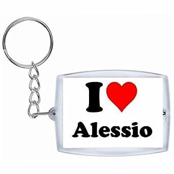 Porte-clés I Love Alessio en Blanc| grande idée de cadeau pour toute occasion!