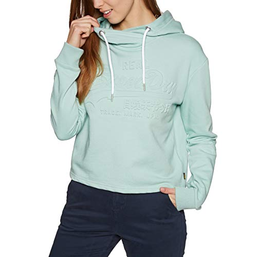 Superdry Damen Sweatshirt V Logo Emboss College Crop Hoodie grau (231) L College Hoodie Sweatshirt