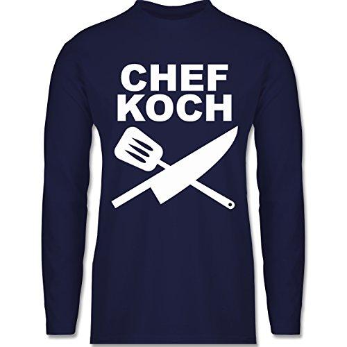 Shirtracer Küche - Chefkoch Messer - Herren Langarmshirt Navy Blau