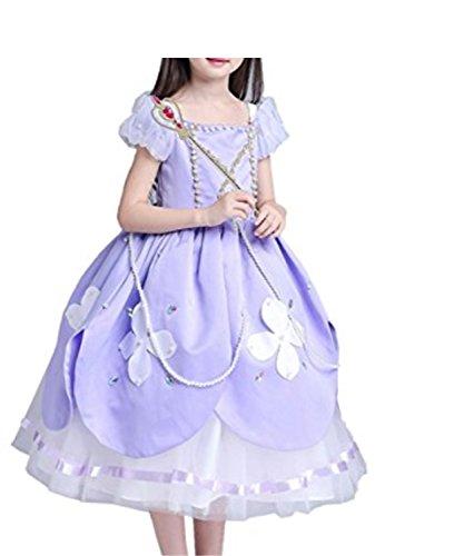 SHUNLIU Mädchen Prinzessinskleid Sofia Rapunzel Kostüm Mädchen Hochzeitskleid Partykleider Cosplay Faschingskostüm Weihnachten Verkleidung Karneval Halloween festliche Kleider für (Kostüm Teenager Rapunzel)