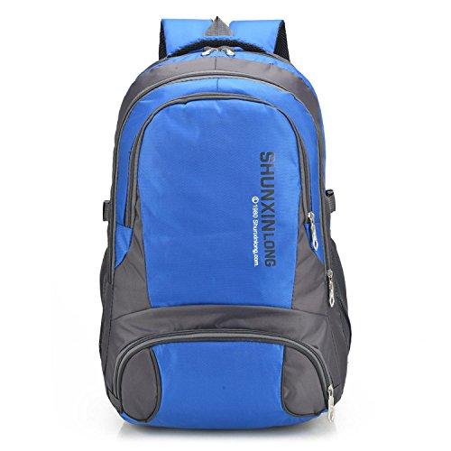 Impermeabile viaggio zaino all'aperto sport tempo libero leggero grande capacità arrampicata escursioni equitazione borsa multifunzione business studenti spalla borsa H58 x W35 x T18 cm , red Blue