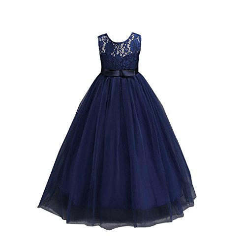 Timlung Kinder Mädchen Spitzenkleid Blumenkleid Abendkleid, Blau, Gr.152/158(Herstellgröße:160CM)