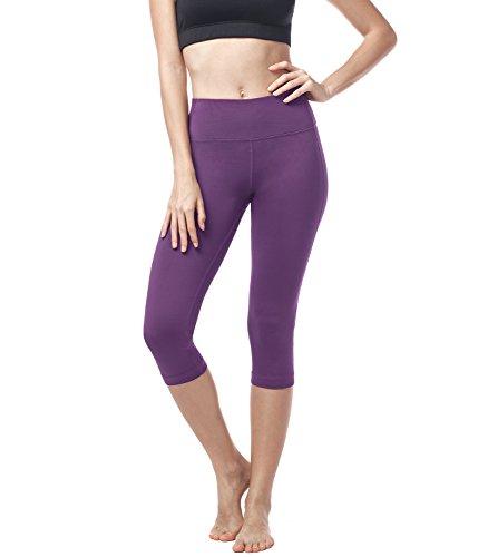 LAPASA Damen Capri Leggings 3/4 Sport Yoga Pants, 1 bis 2er Pack, High Wasit mit Tasche, MEHRWEG L002 (Magenta, M (letzter Abbildung zufolge))