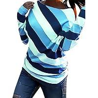 DEELIN Blusa para Mujeres Mujeres Moda O-Cuello Primavera Impreso Rayas Manga Larga Camisa Casual Blusa Suelta Mujeres Tops
