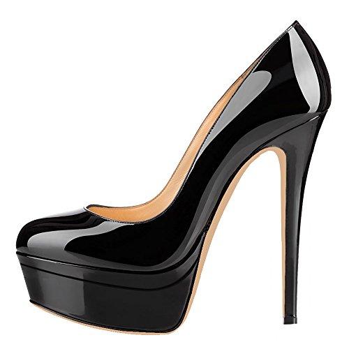 MONICOCO Übergröße Round Toe Mehrfarbig Stiletto Pumps mit Plateau für Party Hochzeit Schwarz Lackleder 44 EU