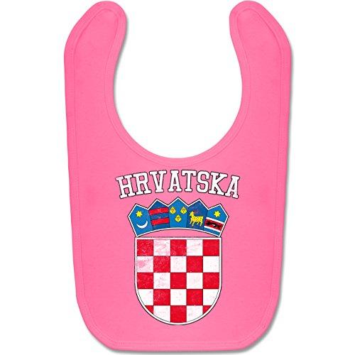 Riesen Weiße Trikot (Shirtracer Fußball-Europameisterschaft 2020 - Baby - Kroatien Wappen WM - Unisize - Pink - BZ12 - Baby Lätzchen Baumwolle)