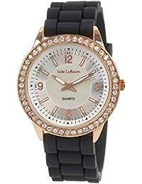 Reloj de Mujer Negro con Pulsera de Silicona y Cristal en Rosa Dorado  Inspirado en Jade 2617a5a7f09c