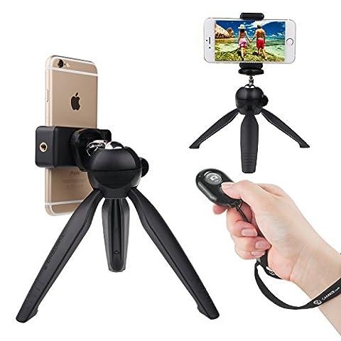 Drahtloser Universal Selfie Kit mit Bluetooth Fernbedienung und Premium Tripod - Freihändige Steuerung des Kamera-Auslösers aus einer Entfernung von bis zu 30 Meter - Passend für iOS und