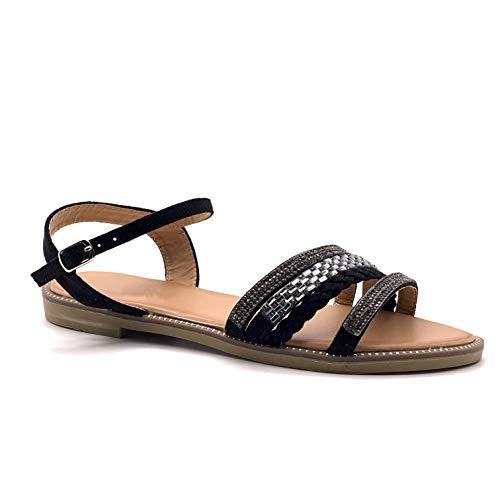 Angkorly - Damen Schuhe Sandalen - Folk/Ethnisch - Glam Rock - Multi-Zaum - Strass - Geflochten Blockabsatz 1.5 cm - Schwarz LW03 T 41