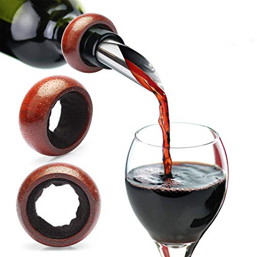 Yobansa Drop Drip Bouchon à vin Collier Vin Drip Bagues Bouteille d'alcool arrêter un cadeau idéal pour les amateurs de vin (lot de 2)