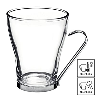 6x Large Coffee / Tea / Latte Cup Glasses with Stainless Steel Handles 32cl (11¼ oz)
