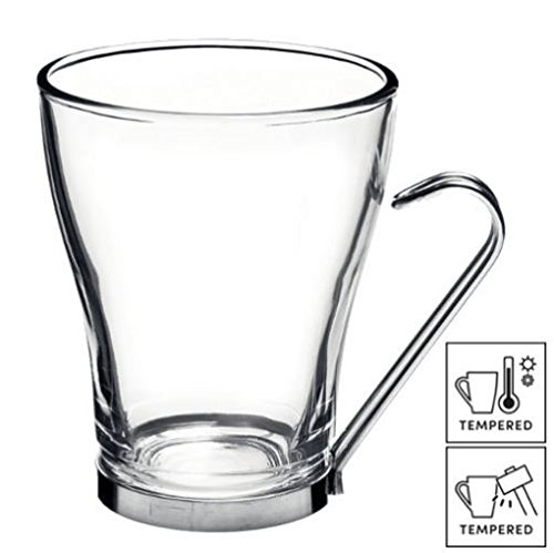NO.1 COFFEE & TEA PRODUCTS 6X LARGE COFFEE / TEA / LATTE CUP GLASSES WITH STAINLESS STEEL HANDLES 32CL (11¼ OZ) BEST BUY REVIEWS UK