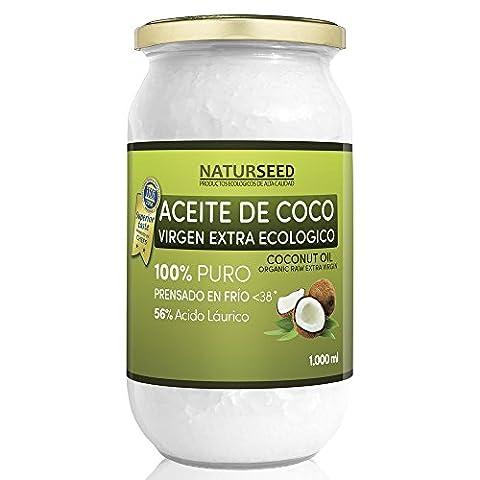 Huile de coco extra vierge bio 1.000 ml , Naturseed, ebook gratuit . Extraction à froid , source d'énergie naturelle pour les athlètes , la perte de poids , complément alimentaire , pour la cuisine , comme une crème hydratante pour vous et votre bébé , cheveux, aussi pour votre chien et le chat