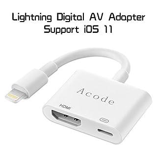 Lightning auf HDMI Adapter, Acode Lightning Digital AV Adapter mit Lightning Ladeanschluss für iPhone, iPad und iPod Modelle auf 1080p HDTV Display Monitor Projektor