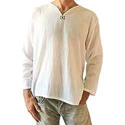 Camiseta Blanca de algodón 100% para Hombre, Cuello en V, Playera de Yoga - Blanco - X-Large