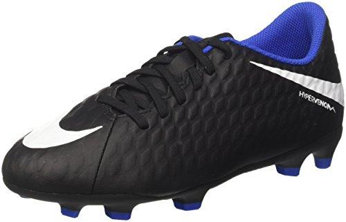 Nike Jr. Hypervenom Phade III FG, Chaussures de Football Mixte Enfant, Noir (Black/White-Dark Grey), 36 EU