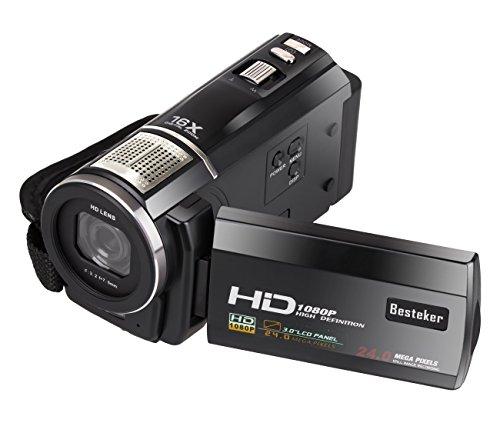 1080P Videocamera, Besteker portatile HD COMS Max 24,0 Mega Pixel Digital Video Camera DV 3,0 pollici TFT LCD Touchscreen Remote Control videocamere batteria esterna con Microspur registrazione