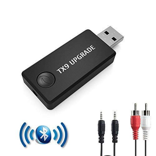 TX9 - Trasmettitore Bluetooth per TV, PC, 3,5 mm, tRCA, Adattatore Audio USB Wireless per 2 Cuffie (Dual Link), Bassa latenza, Stereo ad Alta fedeltà, Plug & Play