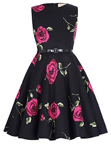 Maedchen retro 50er Hepburn Stil Abendkleid Partykleid 9-10 jahre (Kostüme Mädchen Jahre Pin 50er Up)