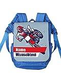 Striefchen® Kinderrucksack für Jungen Motiv: Motorrad mit Wunschnamen Blau