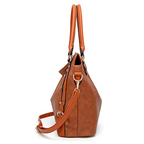 Auspicious beginning Femminile Big Square singola spalla Top Handle Borsa Cross-body Marrone