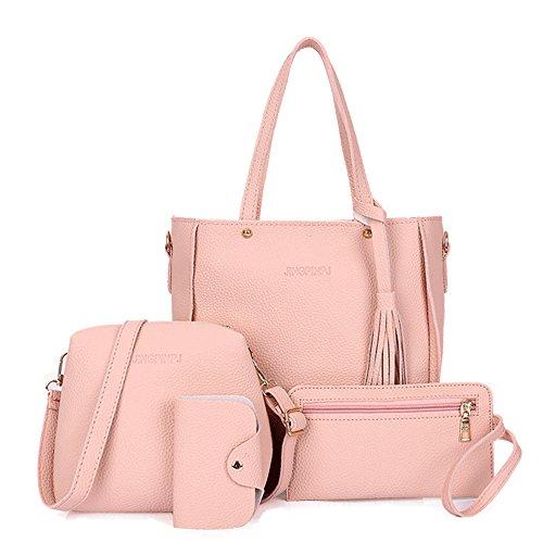 Vin beauty Damen Handtasche + Schultertasche + Geldbörse + Kartenhalter 4er Set Tote Handtasche Kosmetiktasche