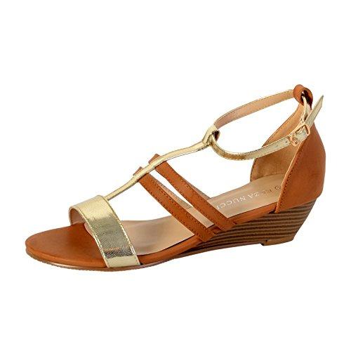 Sandale Compensée Enza Nucci DF2820 Camel Marron