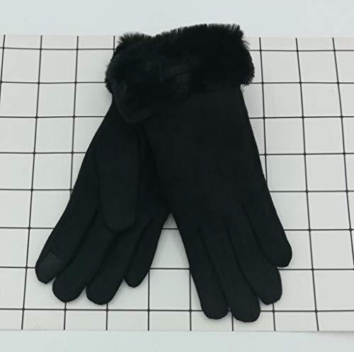 MYYDD Damenhandschuhe Suede Einzeiler-Burr-Fingerhandschuhe Frauen Herbst und Winter warm im Freien Plus Samtschuhe Studentenhandschuhe,B
