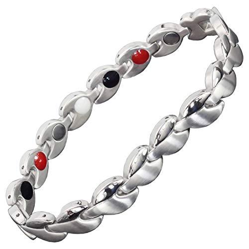 Damen-Magnet-Armband 4-in-1 Magnettherapie-Armband für Damen, alle Größen, Germanium, Infrarot-negatives Ionen-Armband, Schmerzlinderung, Energie, Entgiftung, SLV2 21.5 cm / 8.5 in silber