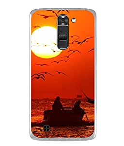 PrintVisa Designer Back Case Cover for LG K10 :: LG K10 Dual SIM :: LG K10 K420N K430DS K430DSF K430DSY (Abstract Illustration Sea Saiboat Sunset Person Wave Graphic)