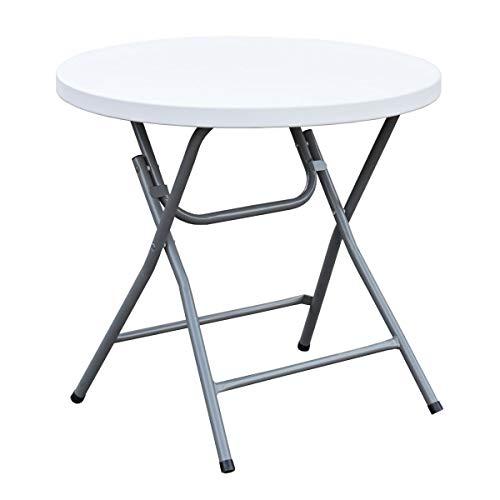 SVITA Buffettisch Kombi mit Tisch und Bank Bierbank Klapptisch Esstisch Camping-Set 180cm (Rundtisch, weiß)