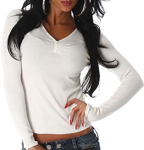 Luxestar Damen Stretch Pullover Langarm-Shirt Longsleeve kurz dünn Slim-Fit figurbetont RIPP Knopfleiste Knöpfe einfarbig V-Ausschnitt, Creme Weiß Stretch-damen Pullover
