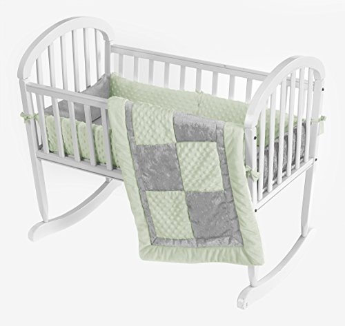 Baby Doll Bedding Croco Minky Cradle Bedding Set, Sage/Grey by BabyDoll Bedding