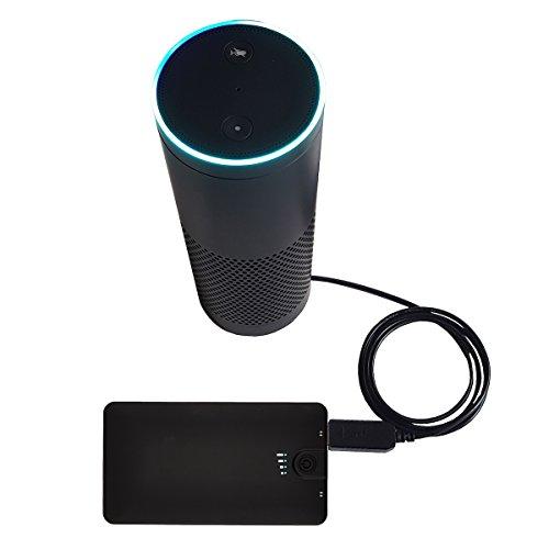 MERES USB Ladungskabel anschließen für Amazon Echo - USB 5V zu DC 15V Netzkabel für Amazon alexa echo zubehör machen die Echo Portable (schwarz)