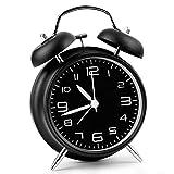 Aodoor Sveglia, Sveglia da Comodino Stile Vintage, Senza ticchettio, meccanismo al Quarzo, 4 Pollici Grande Quadrante, a Doppia Campana, per Sleepers Leggeri e Pesanti - Nero