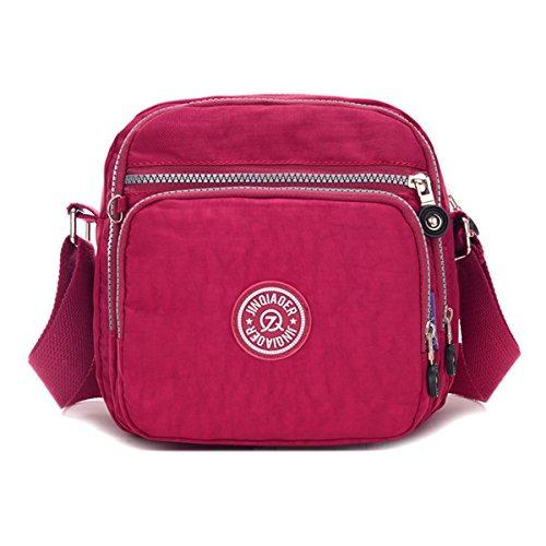 Tiny Chou Schultertasche Nylon leicht wasserdicht Kompakt Crossbody Messenger Bag mit Taschen Purplish Red