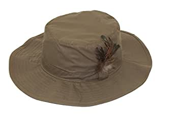 Unisex Waxed Wide Brim Hat Ideal for Fishing Available in 57cm, 58cm, 59cm and 60cm and in Navy, Brown and Olive Green (58cm, Olive Green)