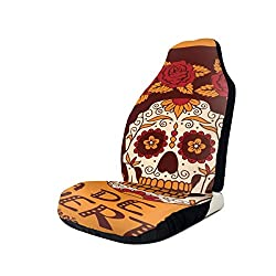 ZZHOO Seat Covers Vehicle Protector Car Mat, Mexican Skull Girl with Hair and Flower Wreath Print,Fit Most Cars, Sedan, Truck, SUV,2pcs
