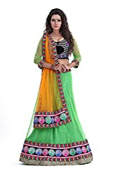 Sky Global Womens Multi Embroidered Semi-stitched Lehenga Choli(Lehnga_502_FreeSize_Multi)