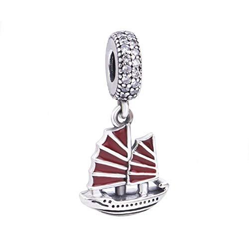 Barca a vela in argento sterling 925nave ciondolo charm sport travel charm per braccialetti pandora