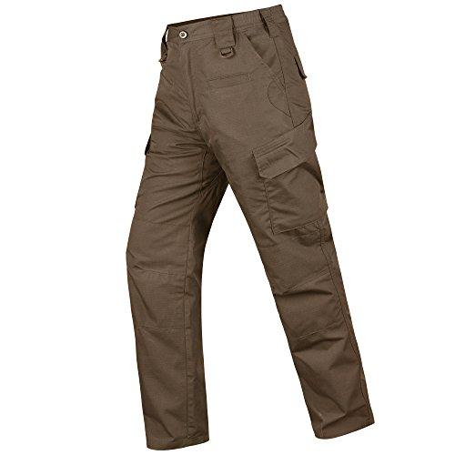 HARD LAND Herren Wasserdicht Taktische Hosen Ripstop Arbeits Cargo Pants mit Elastischem Bund für Wandern Jagd Angeln Größe 38W×32L Braun