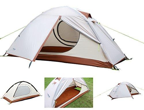 Luxe Tempo Leichtes Kompaktes Einmannzelt Wasserdicht 1 Person Zelte 1.9kg FREI Bodenplane Trekkingzelt Campingzelt Kuppelzelt Innovativ Innenzelt 2 Vestibülen …
