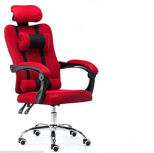Sedia da ufficio, schienale alto, Racing Style, per gaming, ben imbottita, con poggiapiedi e cuscino lombare, design ergonomico reclinabile, regolabile in altezza, SZ5CGJMY® Red