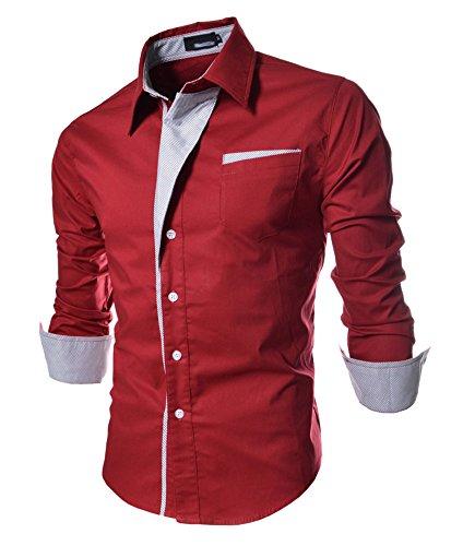Herren Schick glänzend Langarm Hemd Freizeithemd Slim Fit Kontrastfarben Rot