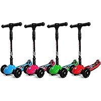 3 Wheel Kids Scooter for Boys & Girls – Foldable Design, Height Adjustable, LED Light Up Wheels, Bottom Nylon Armour – For Children 5+