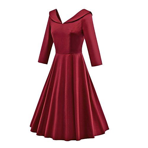 LUOUSE 40s 50s 60s Vintage 3/4-Arm V-Ausschnitt Schwingen Rockabilly Pinup Ballkleid Partei Kleid 3/4-Arm WineRed