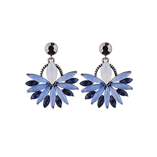 Lovinda Girl Gold Silber Ohrringe Blau Geometrische Fan Diamant Zirkon Ohrringe Frauen Kreative Ohrring Linie Mode Ohrringe Günstige Schmuck für Dame Geburtstagsgeschenk