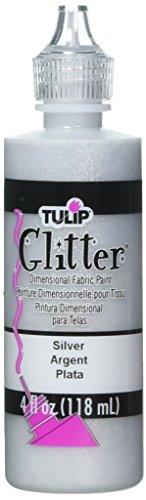Tulip, pittura dimensionale glitterata per tessuti, 118 ml, argento
