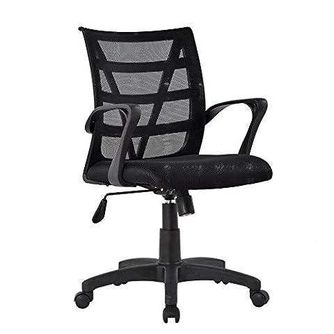 LANGRIA Comfortable V Shape Medium Back Mesh Home Office Desk Chair, Ergonomic Design, Mesh Upholstered Seat Pan, Synchro Tilt Mechanism, 360 Degree Swivel, Max Weight Capacity 130kg, Black